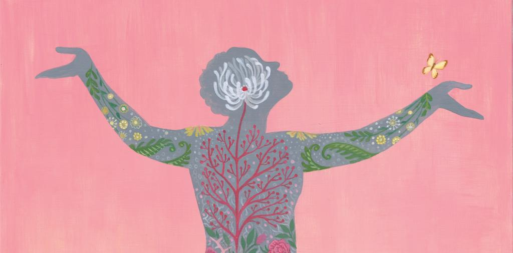 Illustration of a human being made of flowers, arms outstretched