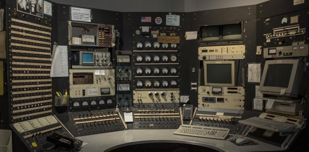 Giant console full of dials and buttons