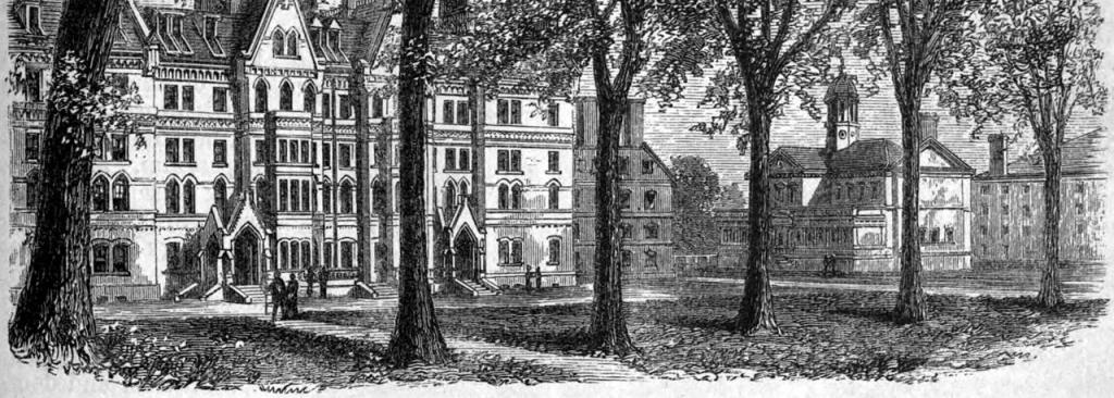 Woodcut image of Harvard Yard