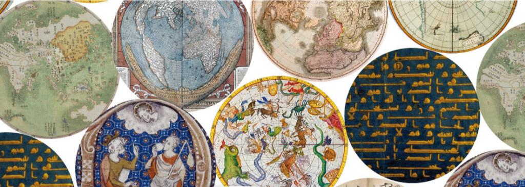 Circles depicting various maps and old texts