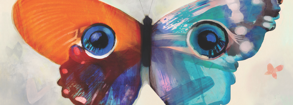 Colorful butterfly with wings that look like a child's eyes