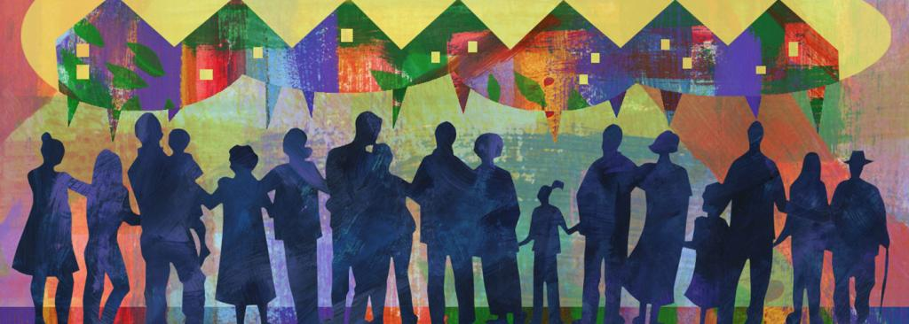 Illustration of families and groups of people talking about houses