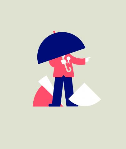 A figure whose face is obscured by an umbrella points the way, but is surrounded by pieces of pie charts.