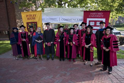The Commencement Marshals and GSAS administrators pose together outside