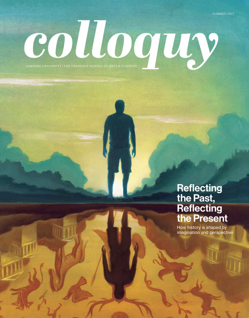 Cover of Colloquy Issue, Summer 2017. A silhouetted figure is reflected in a pool, where he is surrounded by symbols from ancient myth.