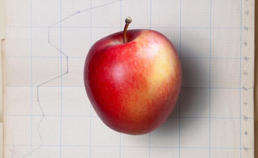 Red apple laying on graph paper with plot points