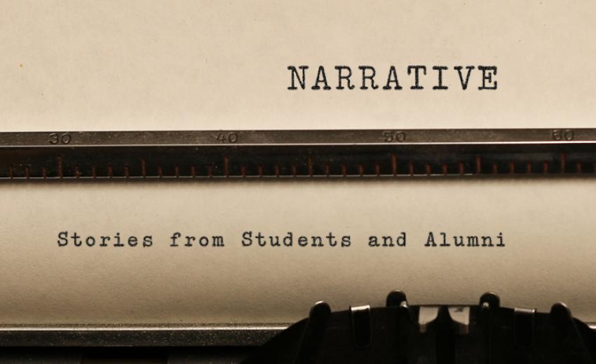 "GSAS ""Narrative: Stories from students and alumni"" paper in typewriter"