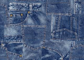 Several pairs of denim jeans