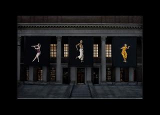 Dance banners at the Widener Library