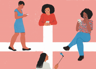 Four women of color at different ends of a cross use smart phones
