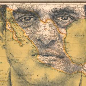 A 19th century map of Mexico, superimposed over Emilio Kouri's face