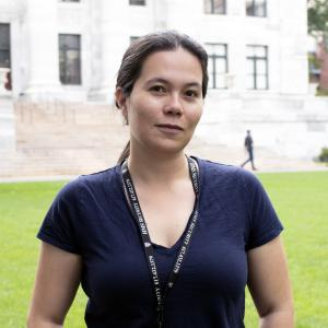 Silvia Cañas-Duarte standing outside of the Harvard Medical School