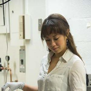 Marinna Madrid working in the lab