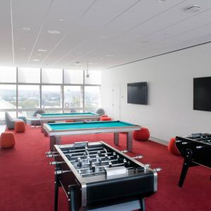 Foosball and pool table on Smith Campus Center 10th Floor