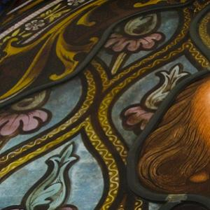 William Shakespeare in stained glassed window